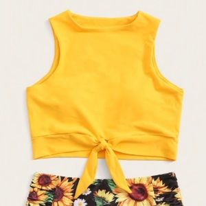 High neck sunflower two-piece swimsuit